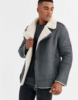 ONLY & SONS faux suede aviator jacket in grey
