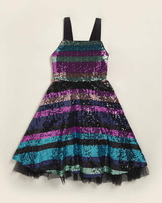Rare Editions Girls 7-16) Sequin Stripe Dress