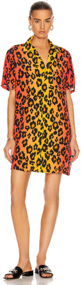 R 13 Skater Shirt Dress in Ombre Leopard | FWRD