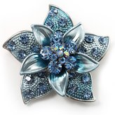 Avalaya 3D Enamel Crystal Flower Brooch (&Sky )