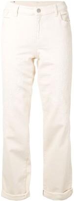 Emporio Armani Embroidered Straight Leg Jeans