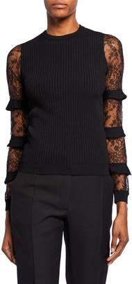 Valentino Chantilly-Lace Ruffled Sleeve Sweater