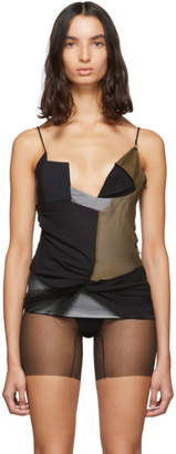 Nensi Dojaka SSENSE Exclusive Black and Tan Silk A Camisole
