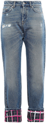 Versace Cropped Paneled Distressed Mid-rise Straight-leg Jeans