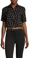 Lucca Couture Printed Cropped Button Up Top