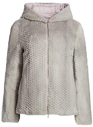 The Fur Salon Julia & Stella For Textured Mink Fur Reversible Hooded Down Jacket