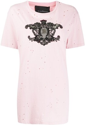John Richmond crest embroidered T-shirt