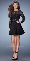 La Femme Sheer Lace Homecoming Dress