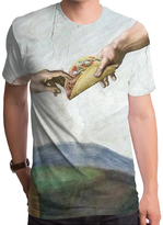 Goodie Two Sleeves Gray Tacos From Above Sublimated Tee - Men's Regular