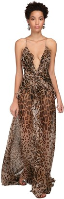 Etro Leopard Sheer Silk Georgette Long Dress