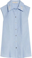 Mary Katrantzou Doric Embroidered Poplin Top - Light blue