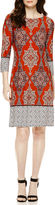 London Times London Style Collection 3/4-Sleeve Medallion Border-Printed Shift Dress