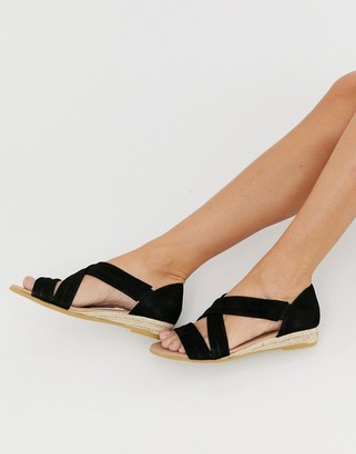 Office Hallie black suede flat sandals