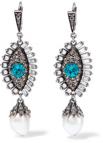 Alexander McQueen Silver-plated Multi-stone Earrings - one size