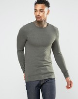 Asos Extreme Muscle Long Sleeve T-Shirt In Khaki