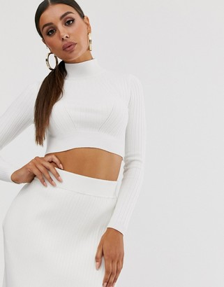4th + Reckless knitted co ord crop jumper with wrap tie back detail in cream