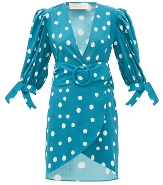 Adriana Degreas Polka-dot Belted Cotton Wrap Dress - Blue Print