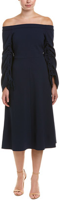 Tibi Off-The-Shoulder A-Line Dress