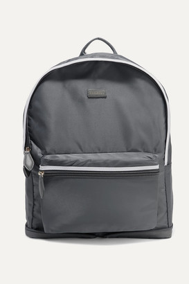 Paravel Fold-up Leather And Grosgrain-trimmed Shell Backpack - Anthracite