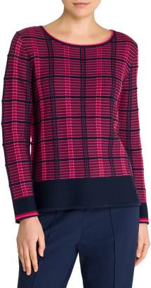 Olsen Easy Style Plaid Cotton-Blend Top