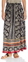 Angie Women's Black and Coral Smocked Waist Maxi Skirt