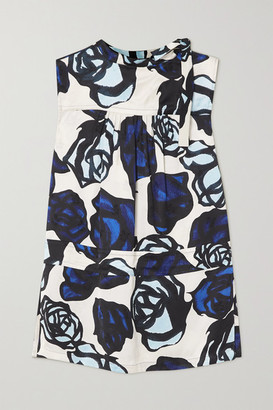 Marni Tie-detailed Floral-print Satin-jacquard Blouse - Blue