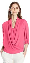 NY Collection Women's Solid Long Sleeve Wrap Front Blouse with High Low Hem and Solid Woven Inset