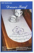 Fairway Stamped Perle Edge Dresser Scarf, 15 by 42-Inch, Somba Lady