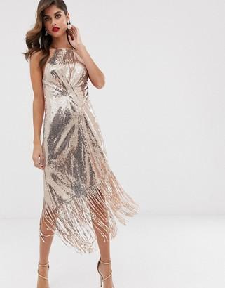 Asos Design DESIGN midi dress in allover sequin with fringe hem-Brown