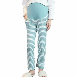 HIHIvia Women's Pregnancy Trousers Over Bump Comfortable Adjustable Cotton Pants for Pregnant Maternity Pajama Bottom