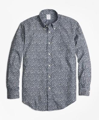 Brooks Brothers Regent Fit Leaf Print Denim Indigo Sport Shirt