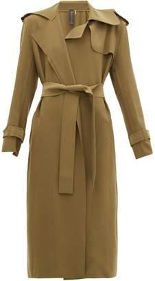Norma Kamali Raw-edged Neoprene Trench Coat - Womens - Khaki