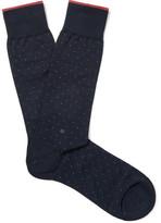 Ermenegildo Zegna Pin-dot Mercerised Stretch Cotton-blend Socks - Navy