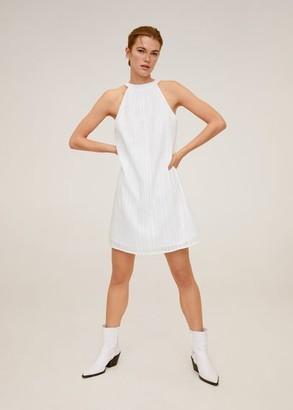 MANGO Striped cotton dress white - 2 - Women