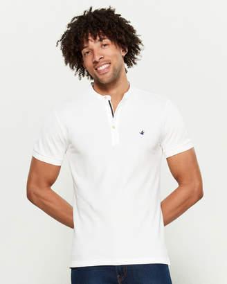Brooksfield Mandarin Collar Pique Short Sleeve Polo