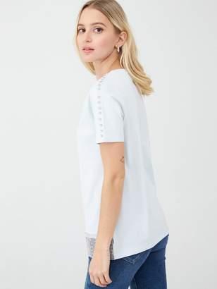 River Island Diamante Trim T-Shirt- Light Blue