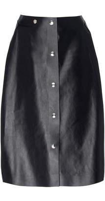 Victoria Beckham Button Up Leather Midi Skirt