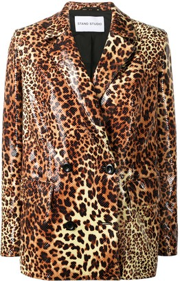 Stand Studio Leopard Print Double-Breasted Blazer