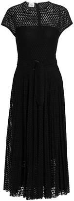 Akris Punto Dot Lace Belted Cap-Sleeve Silk-Trim A-Line Dress