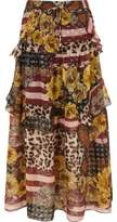 River Island Womens Brown mix print tiered frill maxi skirt