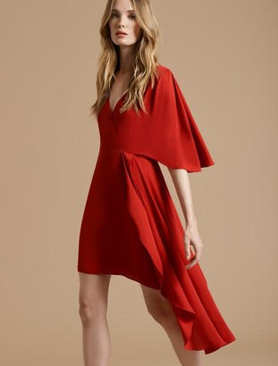 Halston Flowy Short Sleeve Faux Wrap Dress