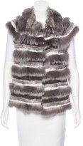 Tory Burch Striped Fur Vest