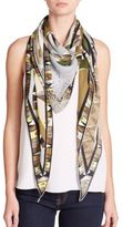 Emilio Pucci Niki Embellished Silk Triangle Scarf