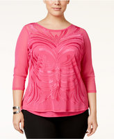 INC International Concepts Plus Size Embroidered Mesh Top, Only at Macy's