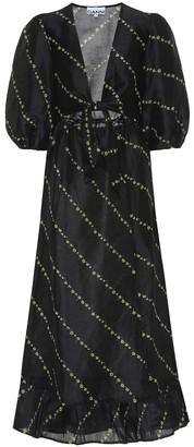 Ganni Printed linen and silk midi dress