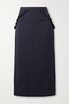 LAURA GARCIA Mila Ruffled Cotton-jacquard Midi Skirt - Navy