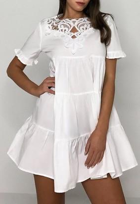 Missguided Cotton Crochet Smock Dress