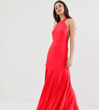 Asos Tall DESIGN Tall maxi dress in crepe with high neck and fishtail hem-Red