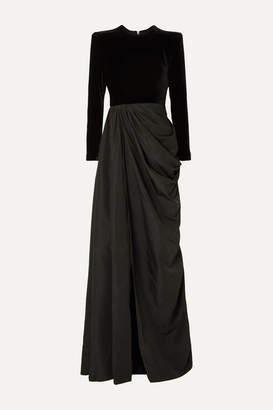 Alex Perry Chandler Draped Taffeta And Velvet Gown - Black