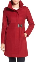 Via Spiga Faux Leather Detail Asymmetrical Wool Blend Coat (Regular & Petite)